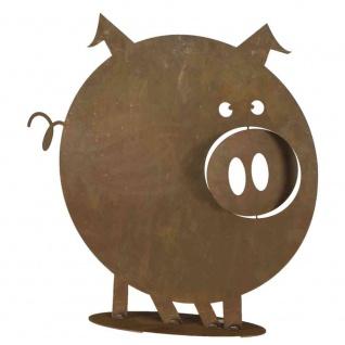 Schwein Gustav, H 49 cm auf Bodenplatte, Metall mit Edelrost