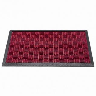 Außenmatte Quadro 45x75cm rot Schmutzfangmatte Fußmatte Fußabtreter Haushalt TOP