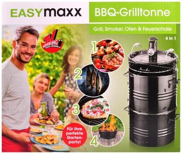 EASYmaxx BBQ-Grilltonne 4in1 Grill Smoker Räuchertonne Räucherofen Feuerschale