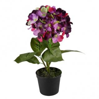 Künstliche Hortensie im Blumentopf 28cm Kunstblume Kunstpflanze Zimmerpflanze