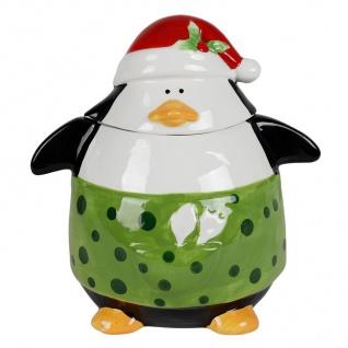 Keramik-Keksdose Pinguin Plätzchendose Vorratsdose Weihnachtsdeko Aufbewahrung