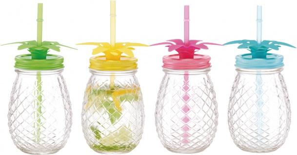 """zeller PRESENT SCHÖNER LEBEN . PRAKTISCH GLAS Trinkglas mit Strohhalm-Set ,, Ananas"""" 19777 M Halm 4er Ananas 500ml"""