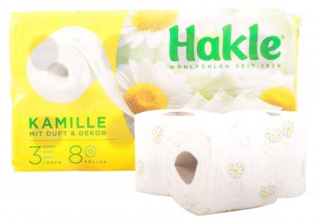 Hakle Toilettenpapier mit Kamillenduft und Dekor 3-lagig 8 Rollen WC Klopapier