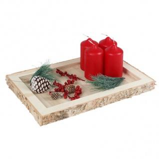 Dekotablett Holztablett Kerzenhalter Tischdeko Weihnachtsdeko Gesteckunterlage