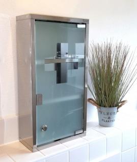 Edelstahl Medizinschrank Medikamentenschrank Hausapotheke Glastür abschließbar - Vorschau 1