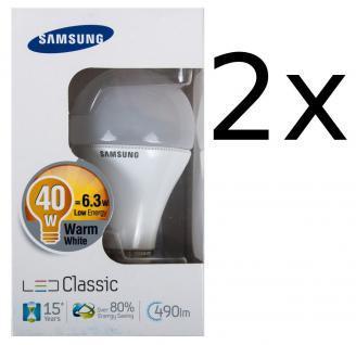 2x Samsung Led 6, 3W Energiesparlampe E27 Leuchtmittel 490lm Glühbirne Glühlampe
