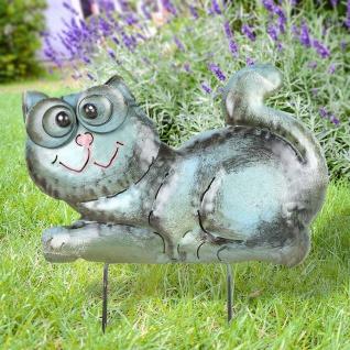 Metall-Beetstecker Katze Gartenstecker Gartendeko Gartenfigur Shabby 36x24x2, 5cm - Vorschau 4