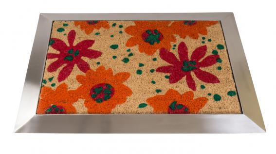 Kokos-Fußabtreter mit Edelstahl-Rahmen Fußmatte Türmatte Schmutzmatte Vorleger