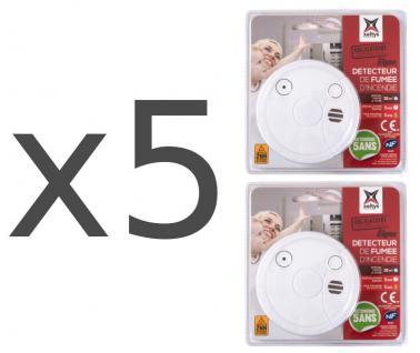 5x Rauchmelder 2er Set mit 5 Jahre Batterie 85 dB Rauch-Warnmelder Feuermelder 10 Stück