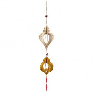 Windspiel zum Aufhängen mit Teelichthalter Metall 15x98 cm Glasperlen Kerze Deko