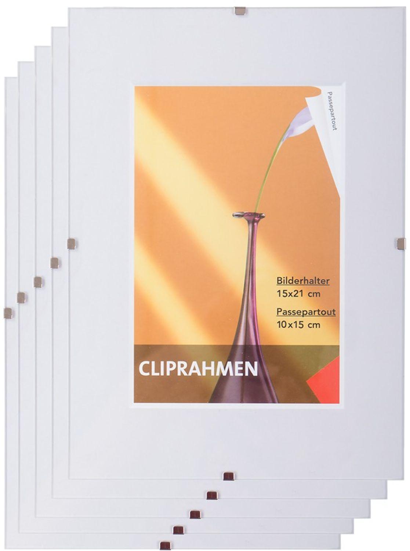 5x Rahmenlos Bilderhalter 15x21 cm Fotorahmen Bilderrahmen Rahmen ...