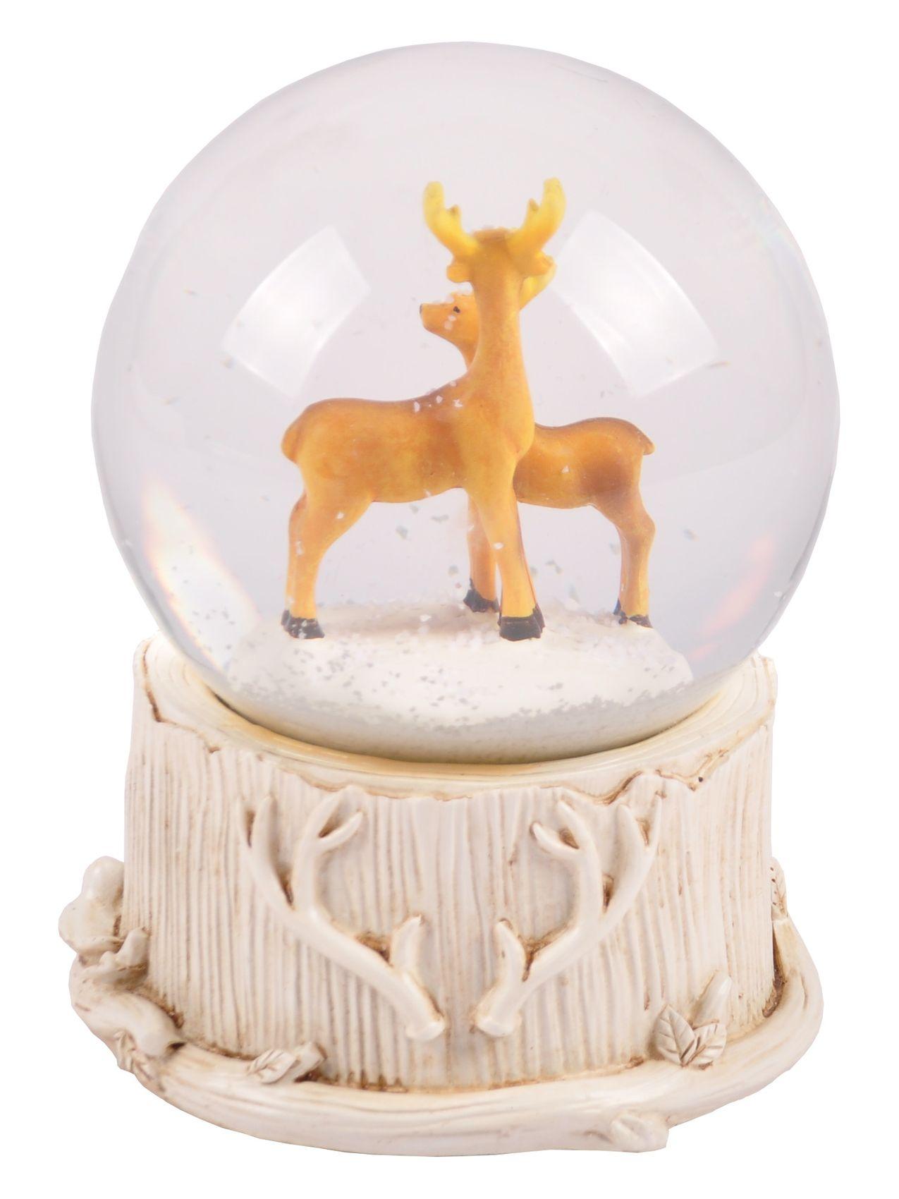 Weihnachtsdeko Schneekugel.Schneekugel Mit Weihnachtsmusik Spieluhr Weihnachtsdeko Winterdeko Hirsche