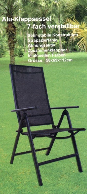 Alu - Klappsessel Klappsessel Klappsessel 7-fach verstellbar schwarz c5a170