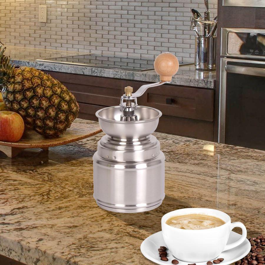nostalgie kaffeem hle 9 5x21cm keramikmahlwerk deko m hle edelstahl handkurbel kaufen bei www. Black Bedroom Furniture Sets. Home Design Ideas