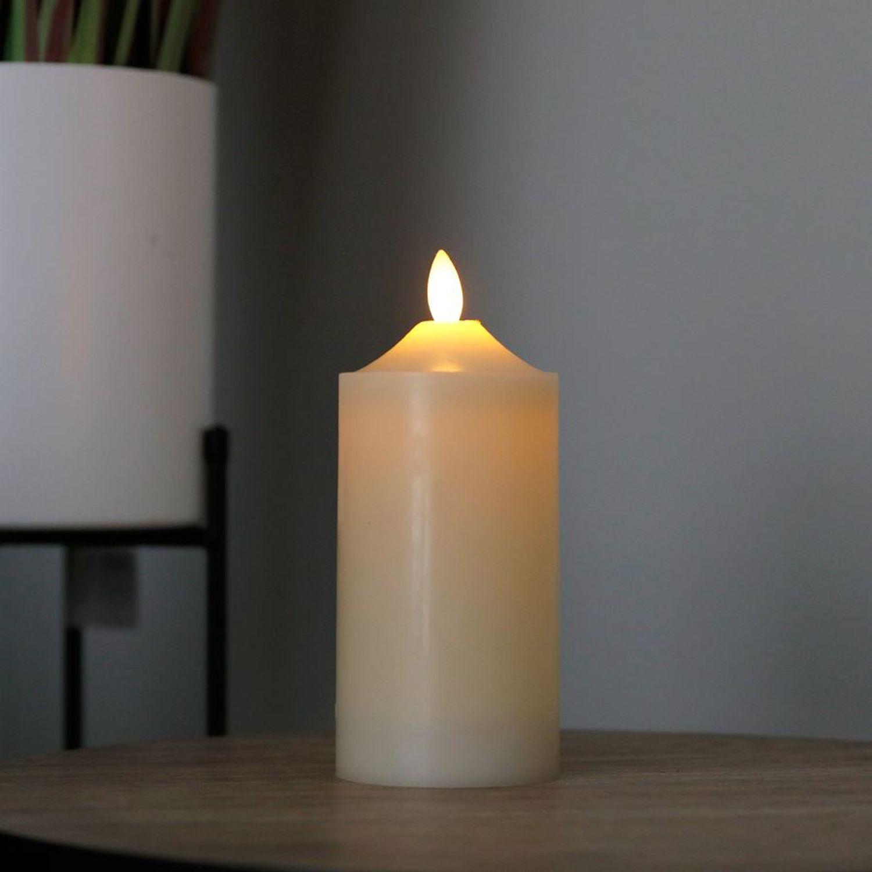LED Wachskerze elfenbein 7,5x17,5cm Altarkerze Stumpenkerze Weihnachtskerze