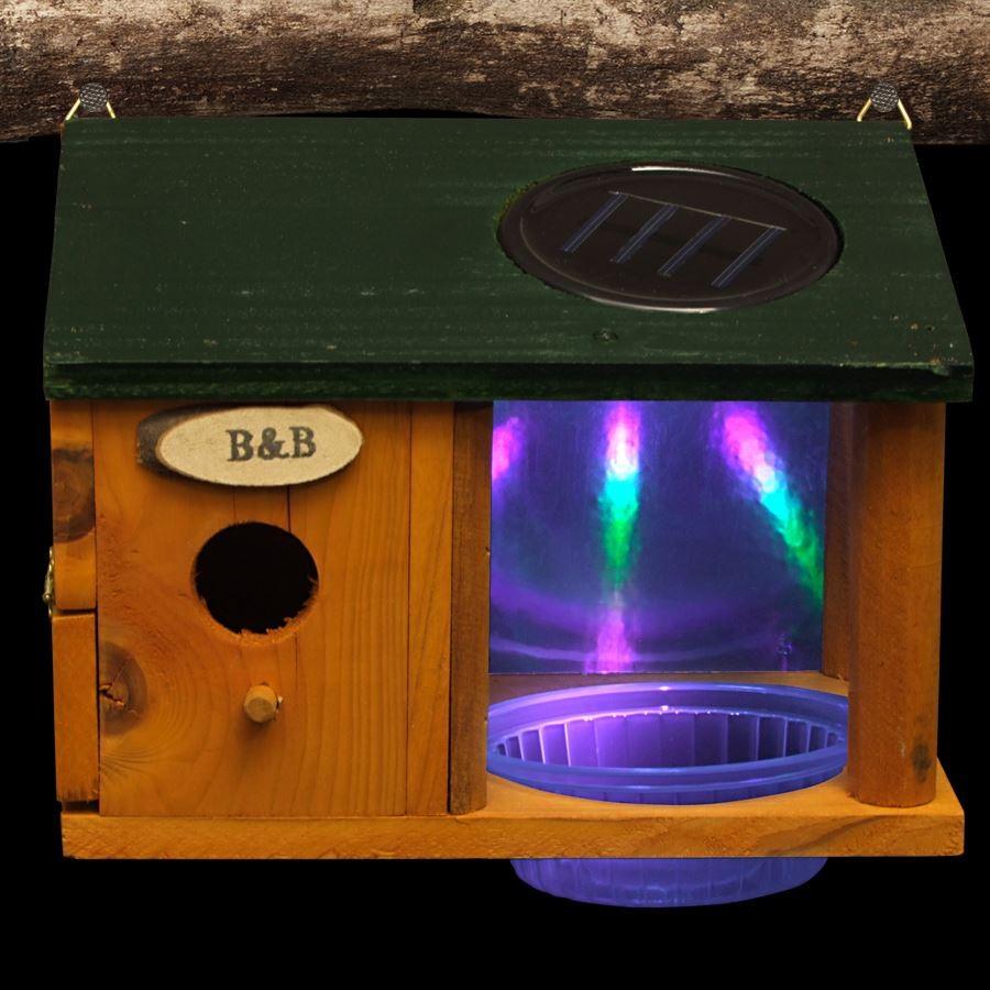 LED Solar Vogelhaus mit Wasserstelle Nistkasten Vogeltränke Garten ...