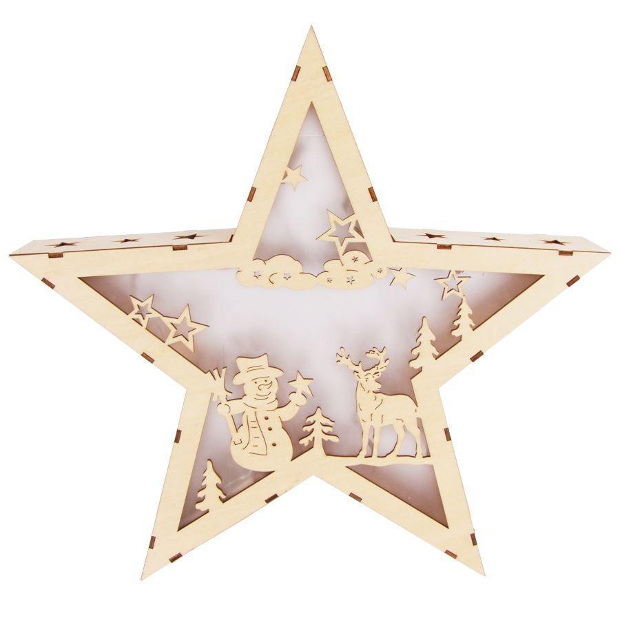 LED-Stern Hologramm-Effekt aus Holz 35cm Leuchtstern Weihnachtsstern ...