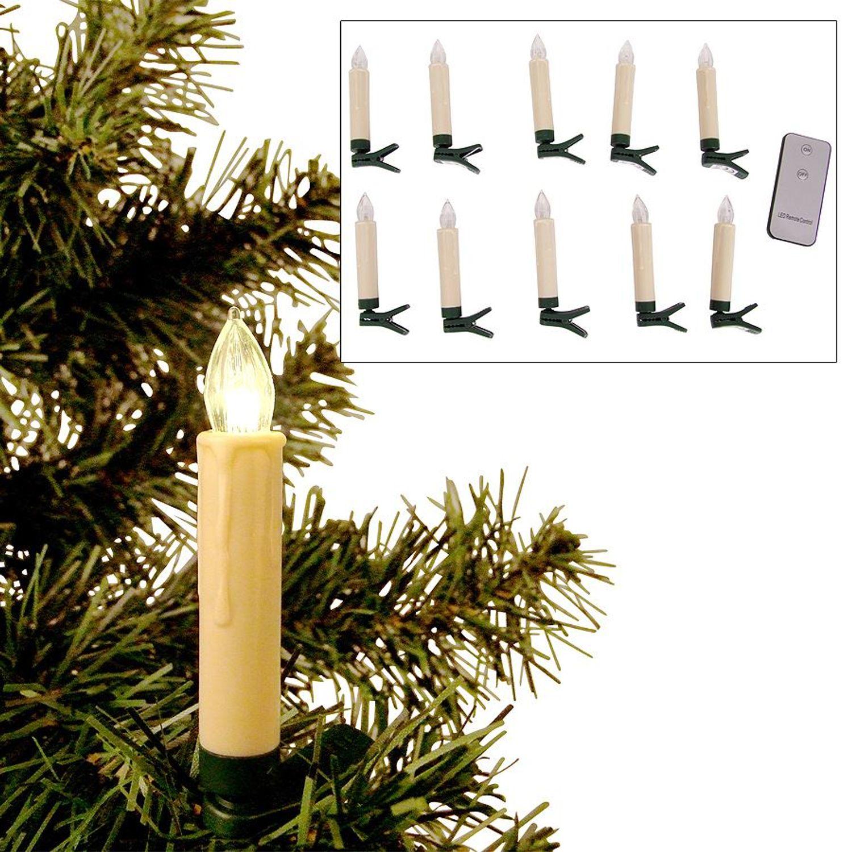 10er led christbaumkerzen kabellos weihnachtskerzen weihnachtsbaum lichterkette kaufen bei www - Weihnachtsbaum lichterkette ohne kabel ...