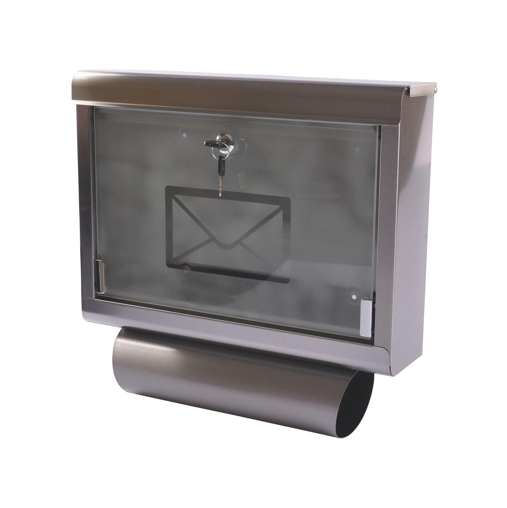 Edelstahl Briefkasten Mit Zeitungsfach Postkasten Zeitungsrolle