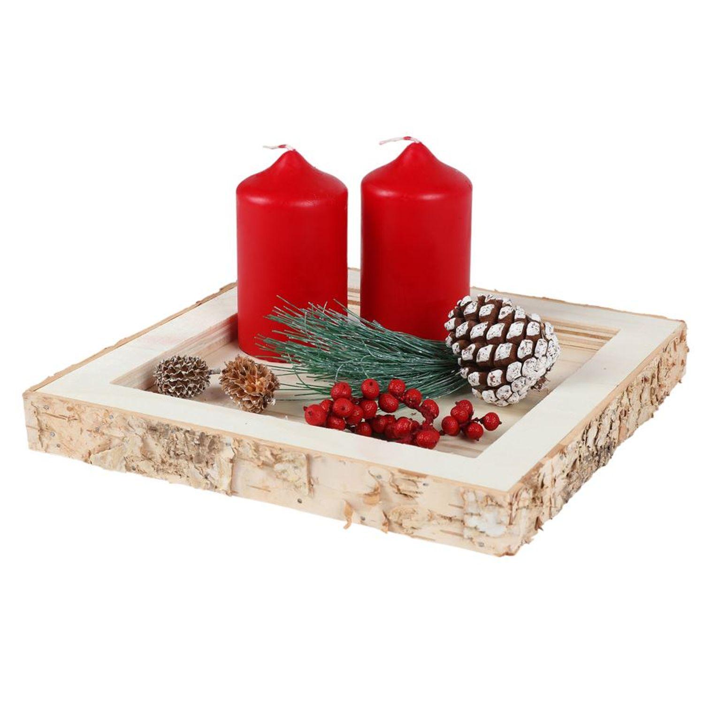 Dekotablett Holztablett Kerzenhalter Tischdeko Weihnachtsdeko