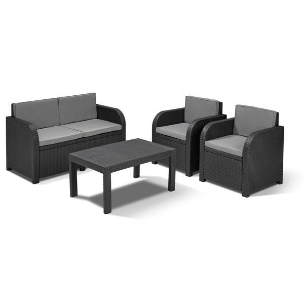 Allibert Lounge Sitzgruppe Mississippi Graphit Rattan-Gartenmöbel ...
