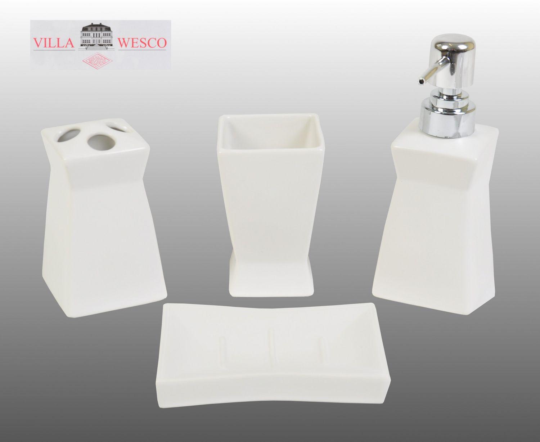 Villa Wesco Keramik Bad Set Weiss 4tlg Seifenspender Zahnputzbecher