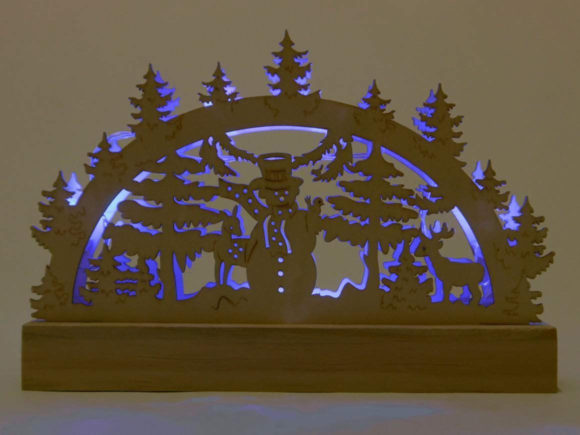 holz 5 leds blau modell schwibbogen holz lichterbogen. Black Bedroom Furniture Sets. Home Design Ideas