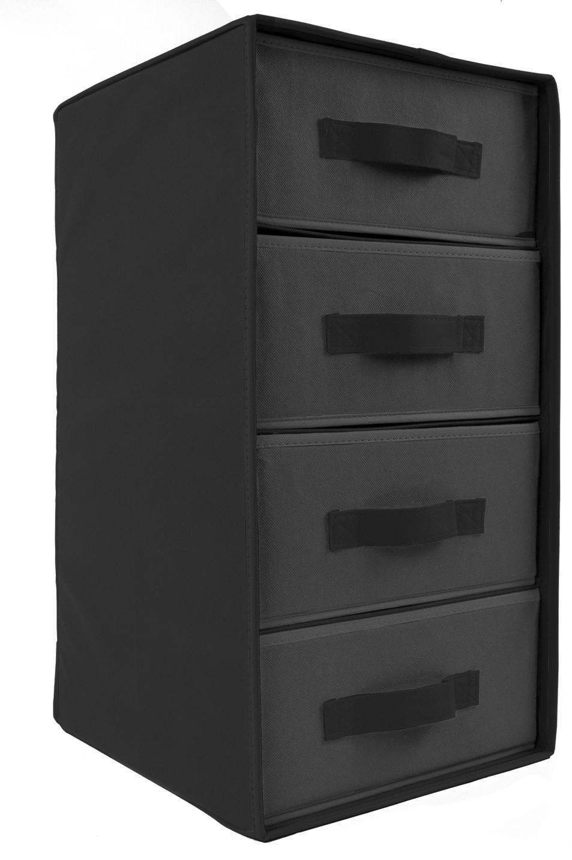 Stoffbox mit 4 Schubladen Grau Stoffschrank Schrank Box Schublade ...