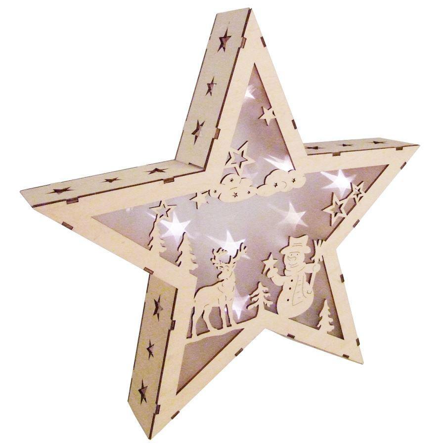 led stern hologramm effekt aus holz 35cm leuchtstern weihnachtsstern holzstern kaufen bei www. Black Bedroom Furniture Sets. Home Design Ideas