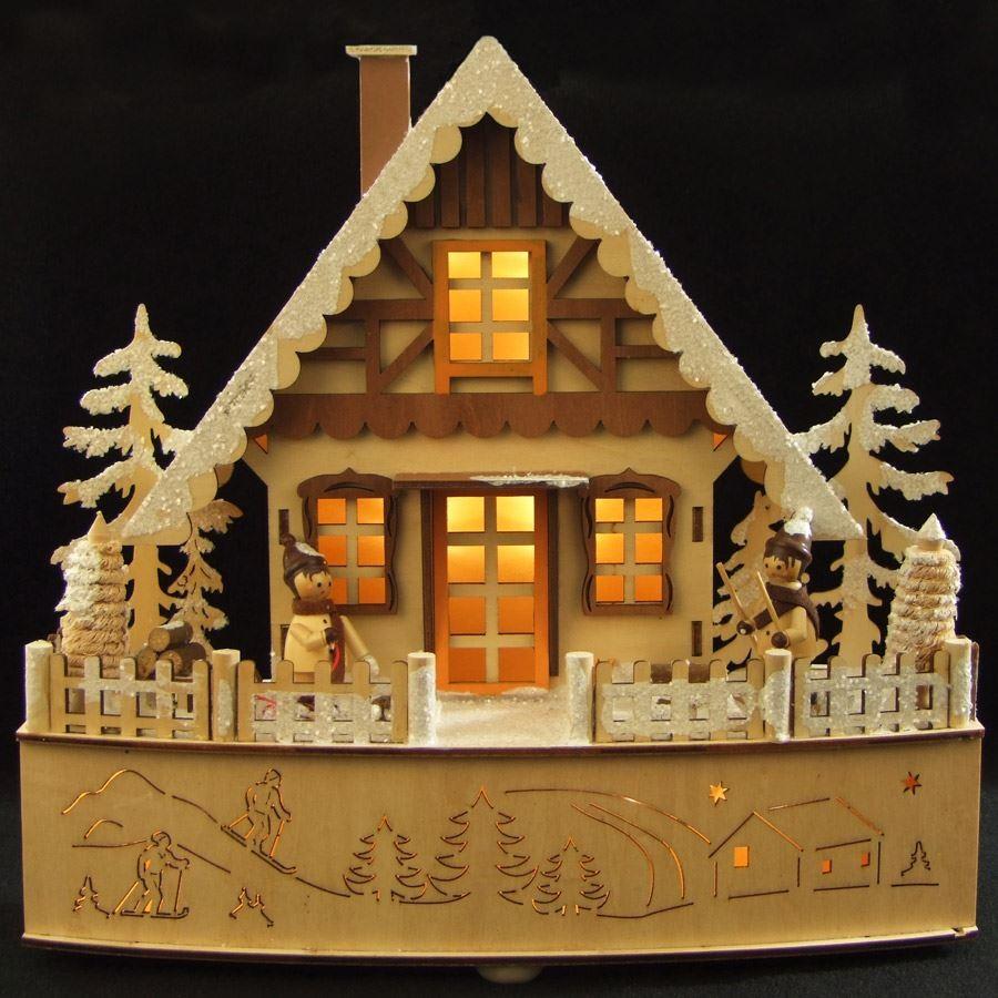 LED Weihnachtsholzhaus Advent Fensterdekoration Weihnachtsdeko