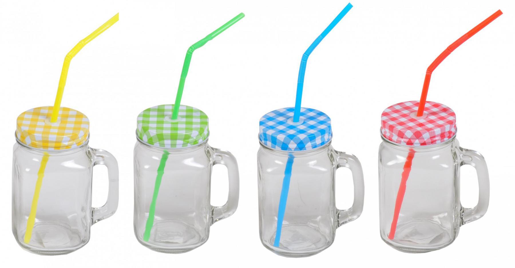 Henkelglas inkl deckel strohhalm trinkglas trinkbecher for Deckel trinkglas