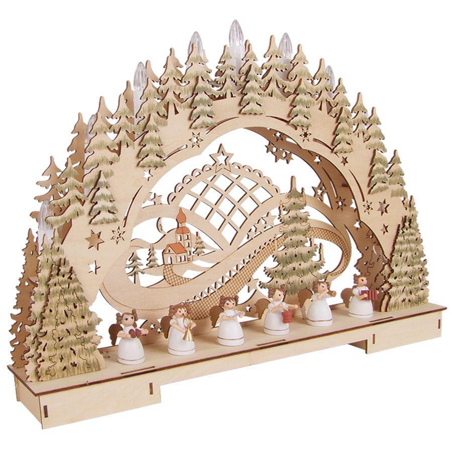 Fensterdeko Holz led lichterbogen holz adventsbogen schwibbogen fensterbeleuchtung