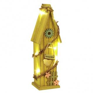 LED-Deko-Vogelhaus 30cm Vogelhäuschen Nistkasten Brutkasten Holzdeko Leuchtdeko