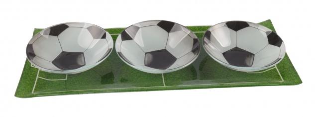 Glas-Snackschalen-Set Fussball mit Tablett Schalenset Dipschalen Serviertablett