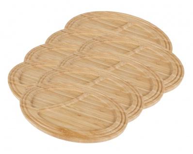 8 Bambus Servierplatten Frühstücksteller Servierteller Serviertablett Holzbrett