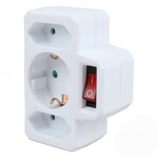Steckdosen Adapter 3-fach Mehrfachstecker Mehrfachsteckdose Verteiler Steckdosen - Vorschau 2