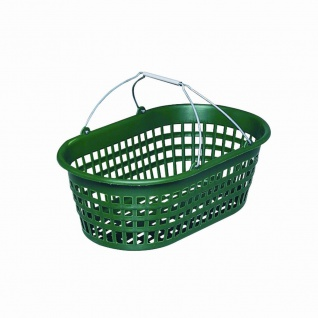 Gartenkorb mit Draht-Klappbügel, 15 kg oval, grün mit Draht-Klappbügel