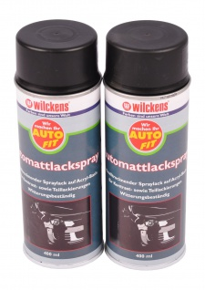 2x 400 ml Wilckens Acryl Spray matt schwarz Lackspray Autolack Auto Sprühlack