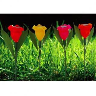 LED-Solar-Blumenspieße 4er-Set Balkonkasten Gartenlampe Beetstecker Gartendeko