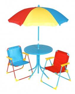 Kinder Sitzgruppe Kindertisch Klappstühle Sonnenschirm Sitzgarnitur Kindermöbel
