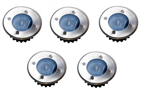 5x LED Solar-Bodeneinbauleuchte Bodenstrahler Bodeneinbaustrahler Solarlampen