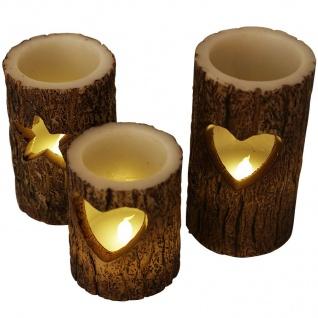 LED-Windlichter Baumstamm 3er-Set Weihnachtskerzen Dekokerze Wachskerze Kerzen - Vorschau 4