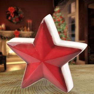 Deko-Stern aus Keramik 16x6cm Weihnachtsstern Adventsstern Fensterdeko Tischdeko