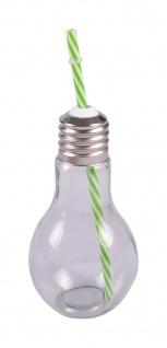 Trinkglas Glühbirne +Trinkhalm 500ml Trinkbecher Saftglas Partybecher Getränke - Vorschau 4
