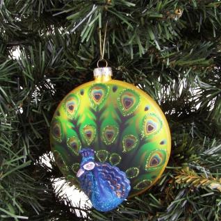 Glas-Weihnachtsbaumkugel Pfau Ø10cm Weihnachtsbaum-Anhänger Christbaumschmuck