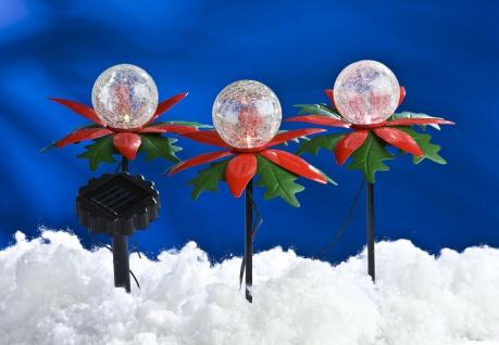 LED Solar-Weihnachtsterne 3er mit Farbwechsel Weihnachtsdeko Gartendeko Balkon