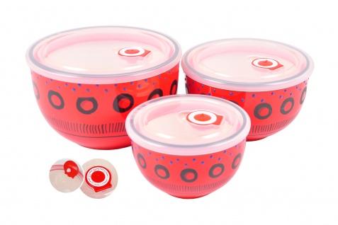 Keramikschüsseln rot 3er-Set mit Frischhaltedeckel Servierschüssel Salatschüssel - Vorschau