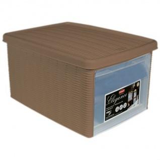 Box Elegance Taupe Aufbewahrung 29x39x21 cm mit Deckel auflappbare Seitenwand
