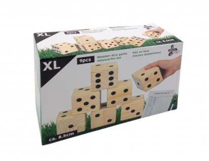 Holzwürfel-Set XL 9-teilig 8, 5cm Spielwürfel Würfelset Garten Spieleset