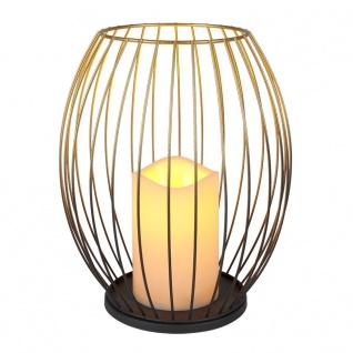 Metall-Laterne Gold mit LED-Kerze warmweiß Timer und Flackereffekt 23, 5cm